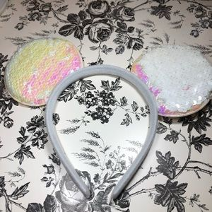 White sequins mouse ears headband